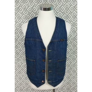 Vtg Wrangler Denim Vest Fleece Lined Blue Jean Top